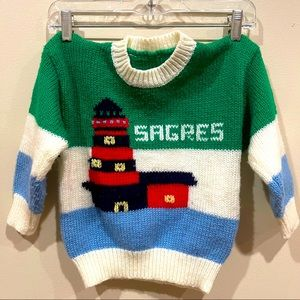 Vintage Hand Knit Lighthouse Sagers Sweater 4-5T